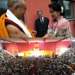 Immagini incontro del Dalai Lama e Aung San Suu Kyi a Praga il 15/09/2013