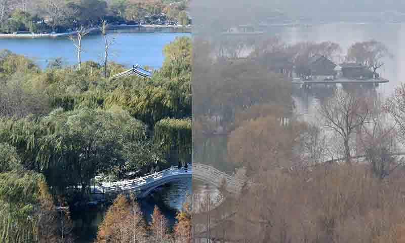 (151209) -- JINAN, Dec. 9, 2015 (Xinhua) -- Combination photo taken on Nov. 26 (L) and Dec. 9 shows a sharp contrast of the scenery of Daming Lake in Jinan, capital of east China's Shandong Province. Jinan was hit by fog and smog on Dec. 9. (Xinhua/Xu Suhui) (lfj)