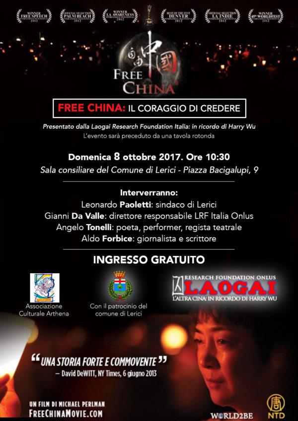 """[Lerici, 8/10/2017] """"Free China - Il coraggio di credere"""", il film-documentario"""
